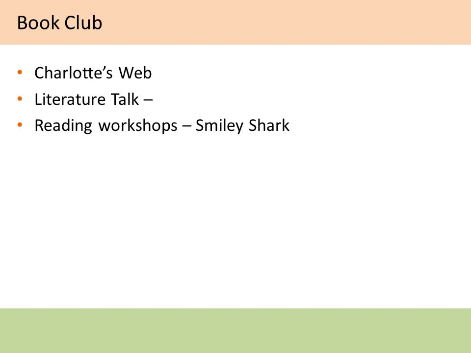 Book Club Charlottes Web Literature Talk – Reading workshops – Smiley Shark