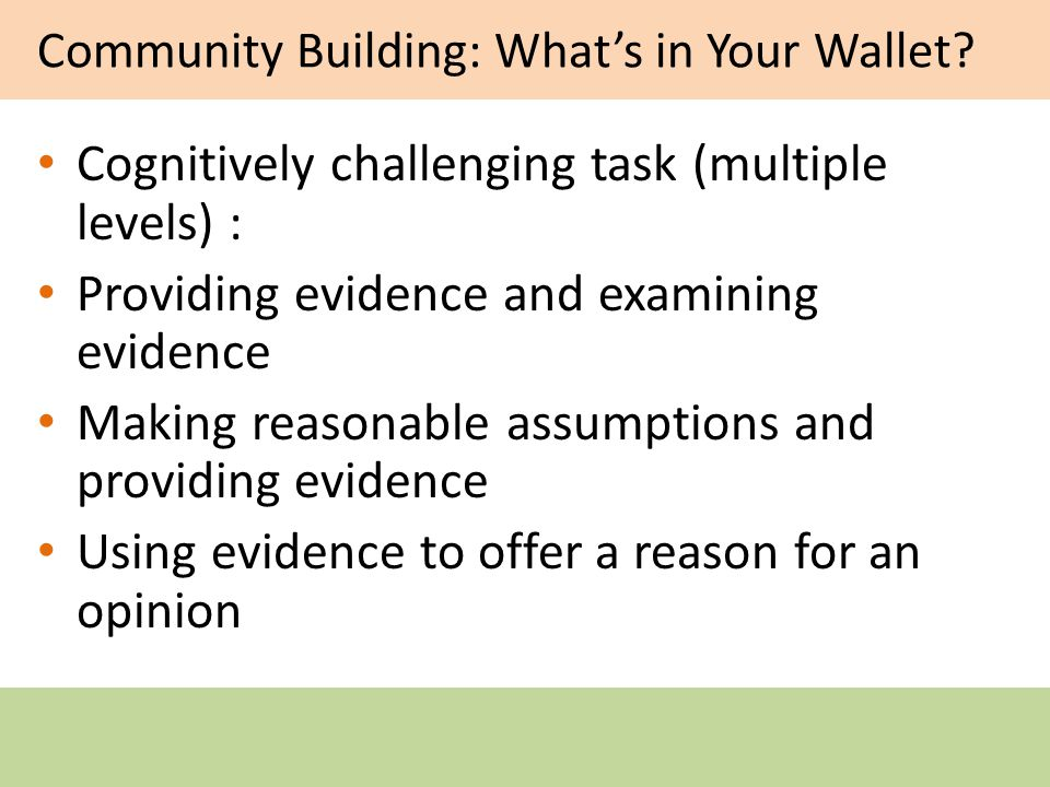 Community Building: Whats in Your Wallet.