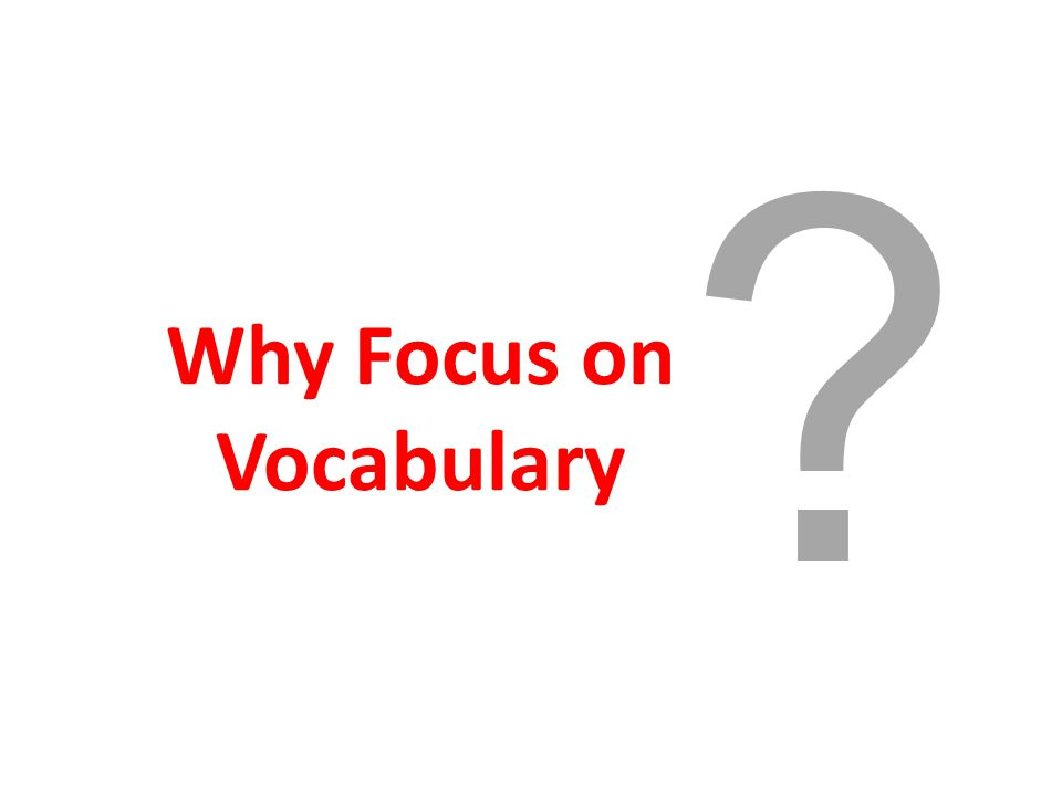 Why Focus on Vocabulary