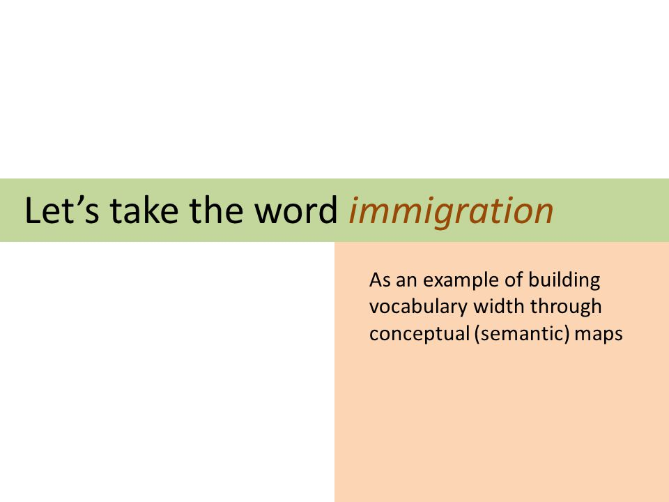Lets take the word immigration As an example of building vocabulary width through conceptual (semantic) maps