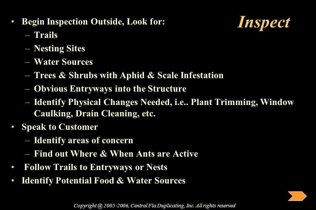 Inspect Begin Inspection Outside, Look for: –Trails –Nesting Sites –Water Sources –Trees & Shrubs with Aphid & Scale Infestation –Obvious Entryways in