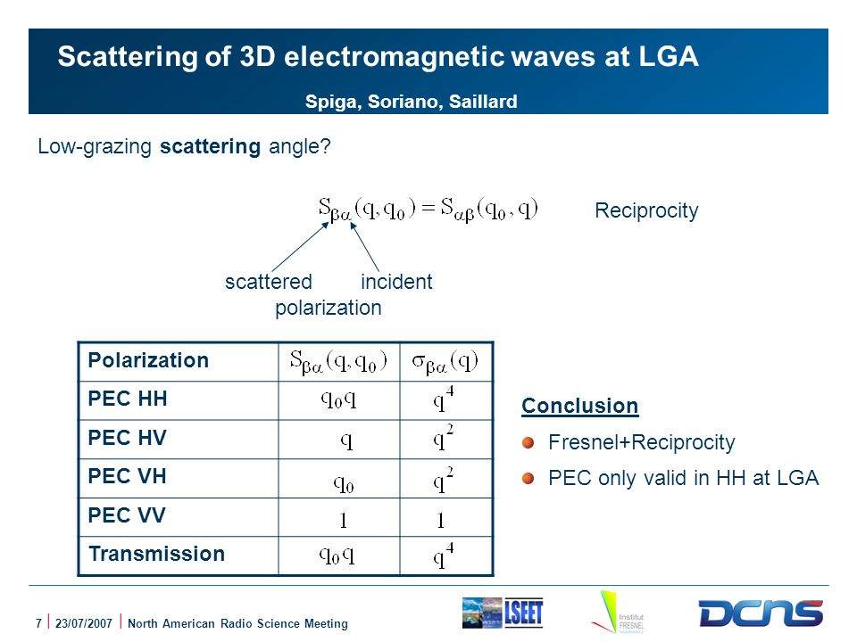 7 | 23/07/2007 | North American Radio Science Meeting Scattering of 3D electromagnetic waves at LGA Spiga, Soriano, Saillard Low-grazing scattering angle.
