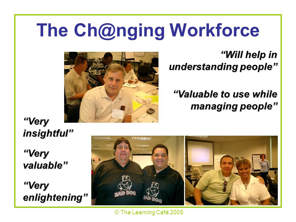 © The Learning Café 2005 The Ch@nging Workforce Very enlightening Will help in understanding people Very insightful Very valuable Valuable to use while managing people