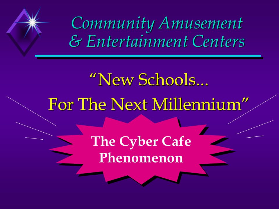 Cyber Cafe Current Trends Cyber Cafes are everywhere Explosive growth of digital cameras/multimedia Highly interactive environments People are becoming addicted to technology Publishers paradise Personal Broadcast nodes; distance learning centers Multimedia producer in a box; storytellers delight