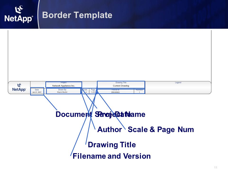 11 Border Template Document Save DateProject Name AuthorScale & Page Num Drawing Title Filename and Version