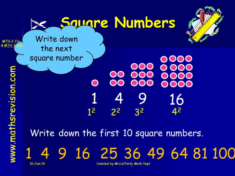 www.mathsrevision.com 10-Jun-14Created by Mr.Lafferty Math Dept Square Numbers www.mathsrevision.com Write down the first 10 square numbers.