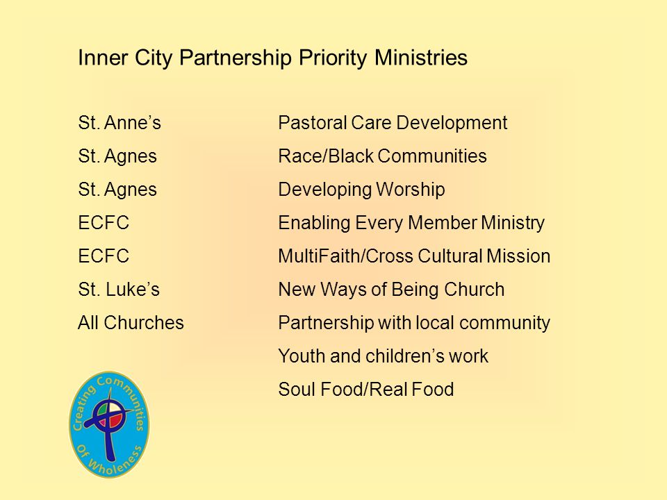 Inner City Partnership Priority Ministries St. Annes Pastoral Care Development St. Agnes Race/Black Communities St. AgnesDeveloping Worship ECFC Enabl