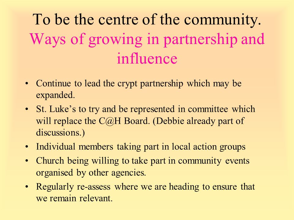 Continue to lead the crypt partnership which may be expanded.
