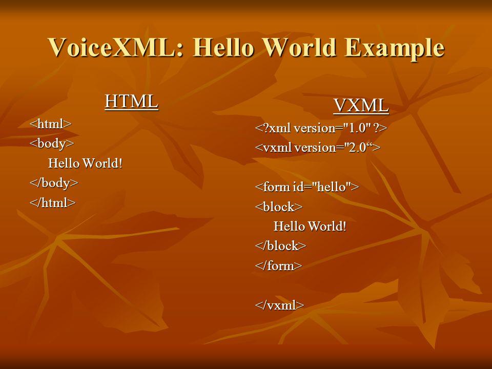 VoiceXML: Hello World Example HTML<html><body> Hello World.
