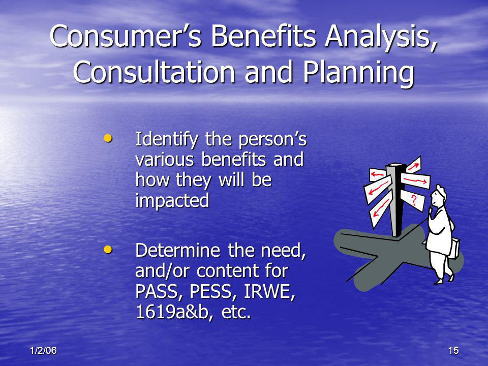 1/2/0615 Consumers Benefits Analysis, Consultation and Planning Identify the persons various benefits and how they will be impacted Identify the perso