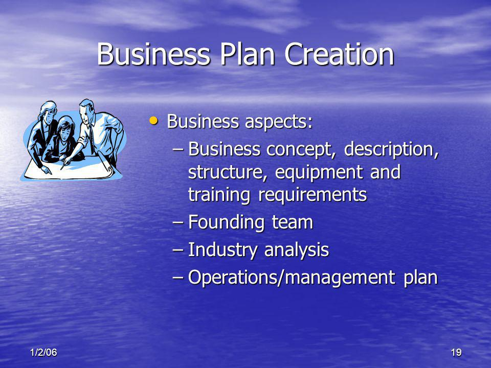 1/2/0619 Business Plan Creation Business aspects: Business aspects: –Business concept, description, structure, equipment and training requirements –Founding team –Industry analysis –Operations/management plan