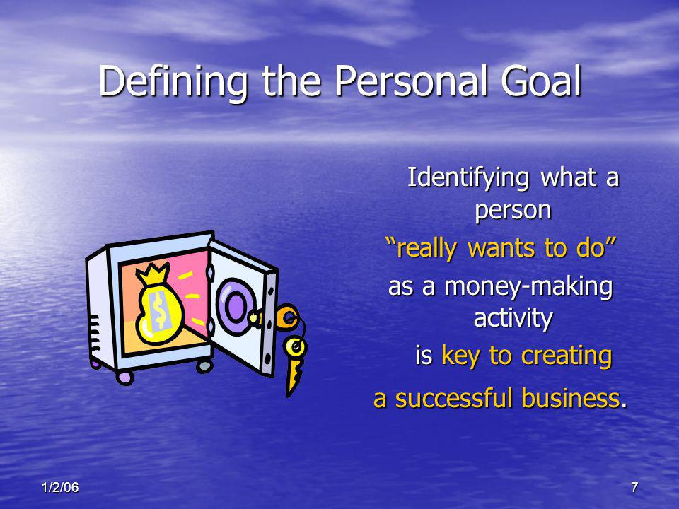 1/2/067 Identifying what a person really wants to do as a money-making activity is key to creating a successful business. Defining the Personal Goal