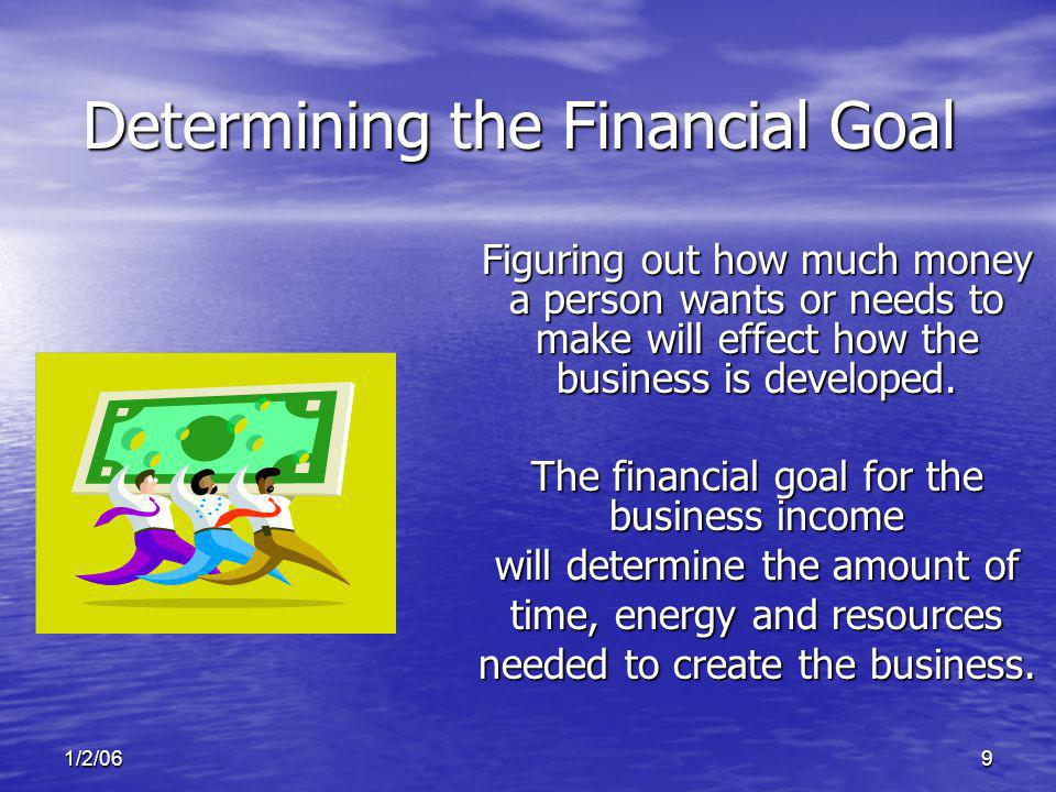 1/2/069 Figuring out how much money a person wants or needs to make will effect how the business is developed.