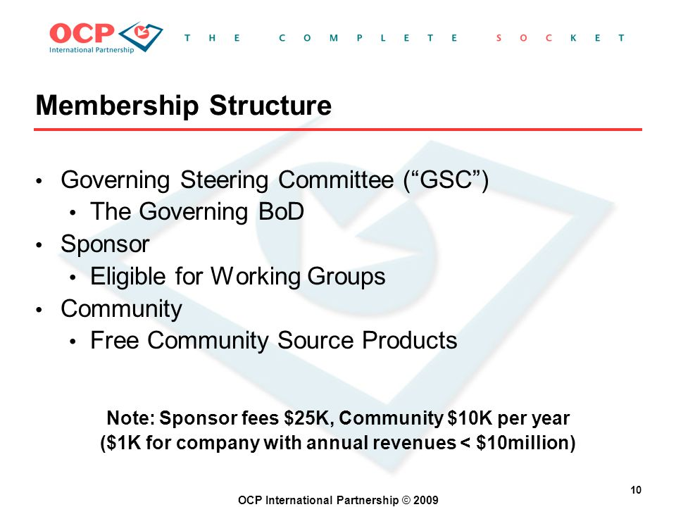OCP International Partnership © 2009 10 Membership Structure Governing Steering Committee (GSC) The Governing BoD Sponsor Eligible for Working Groups Community Free Community Source Products Note: Sponsor fees $25K, Community $10K per year ($1K for company with annual revenues < $10million)