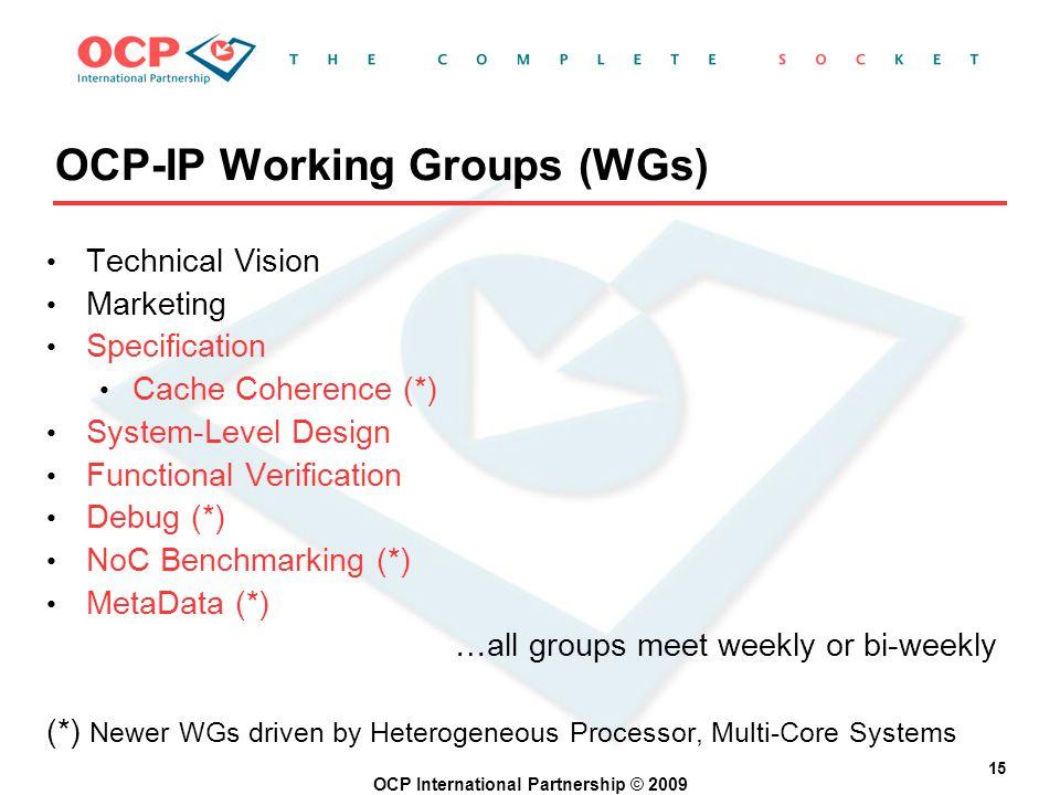 OCP International Partnership © 2009 15 OCP-IP Working Groups (WGs) Technical Vision Marketing Specification Cache Coherence (*) System-Level Design Functional Verification Debug (*) NoC Benchmarking (*) MetaData (*) …all groups meet weekly or bi-weekly (*) Newer WGs driven by Heterogeneous Processor, Multi-Core Systems