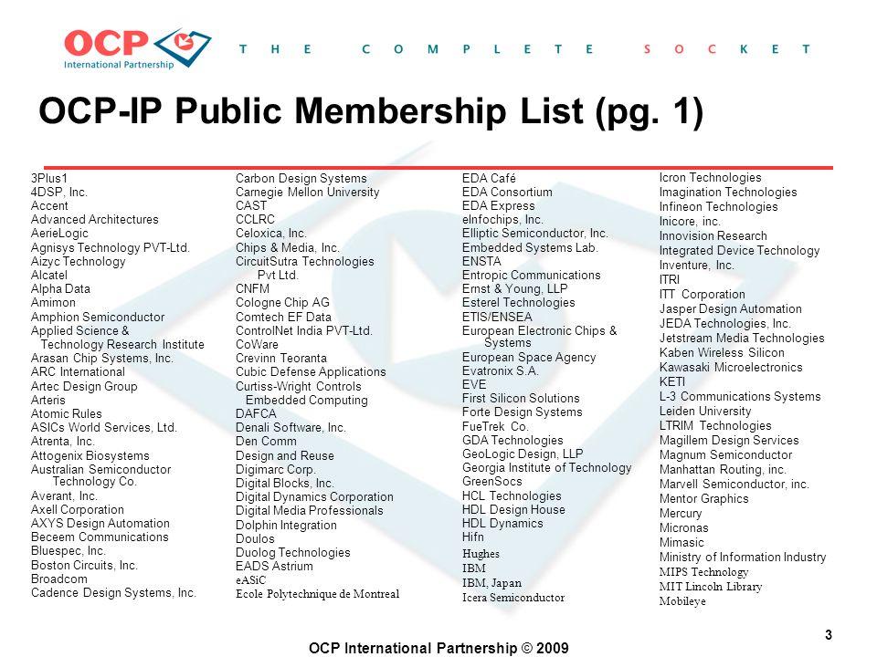 OCP International Partnership © 2009 3 3Plus1 4DSP, Inc.