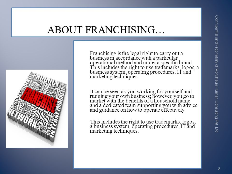 Franchising is the legal right to carry out a business in accordance with a particular operational method and under a specific brand.