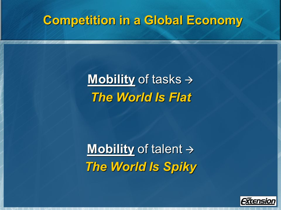 Competition in a Global Economy Mobility of tasks Mobility of tasks The World Is Flat Mobility of talent Mobility of talent The World Is Spiky