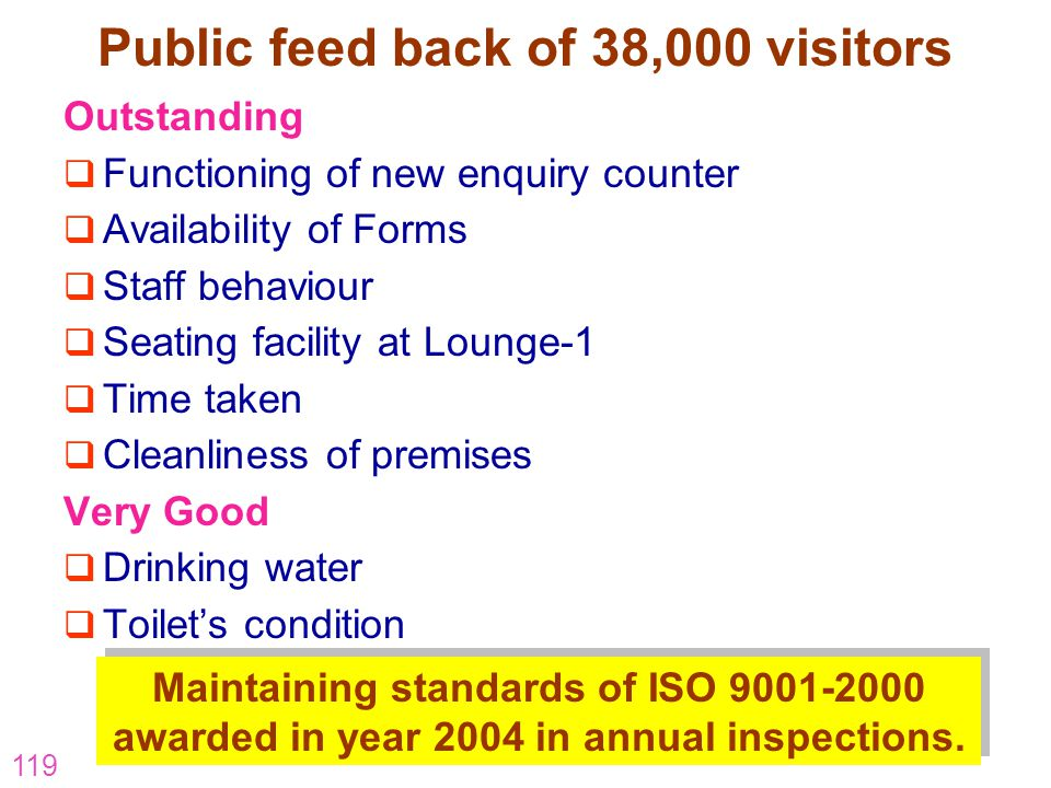 119 Public feed back of 38,000 visitors Outstanding Functioning of new enquiry counter Availability of Forms Staff behaviour Seating facility at Loung