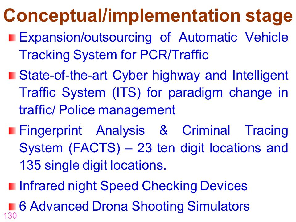 130 Conceptual/implementation stage Expansion/outsourcing of Automatic Vehicle Tracking System for PCR/Traffic State-of-the-art Cyber highway and Inte