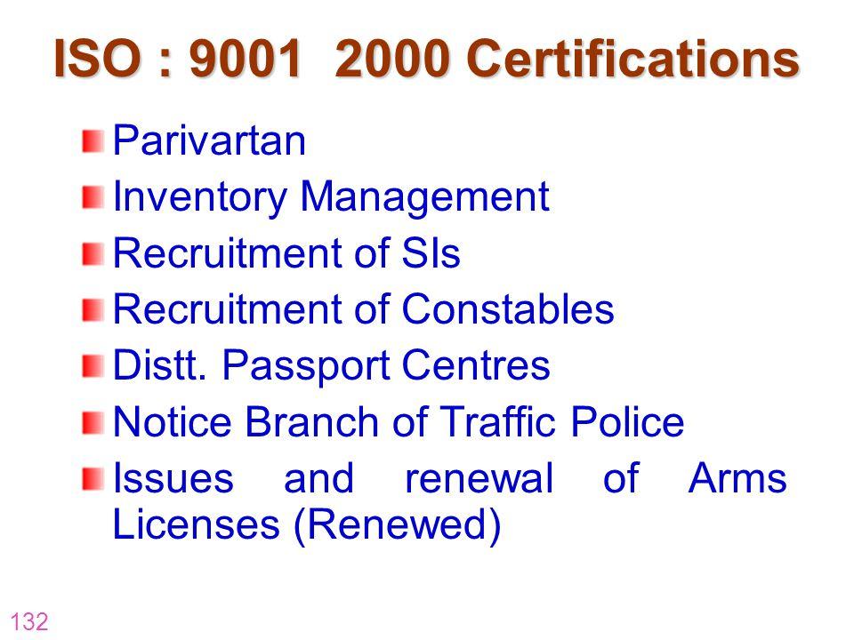 132 ISO : 9001 2000 Certifications Parivartan Inventory Management Recruitment of SIs Recruitment of Constables Distt. Passport Centres Notice Branch