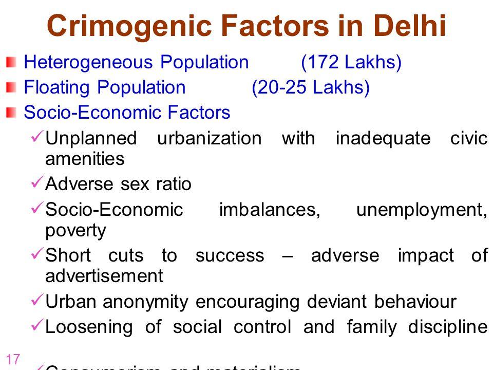 17 Crimogenic Factors in Delhi Heterogeneous Population (172 Lakhs) Floating Population(20-25 Lakhs) Socio-Economic Factors Unplanned urbanization wit