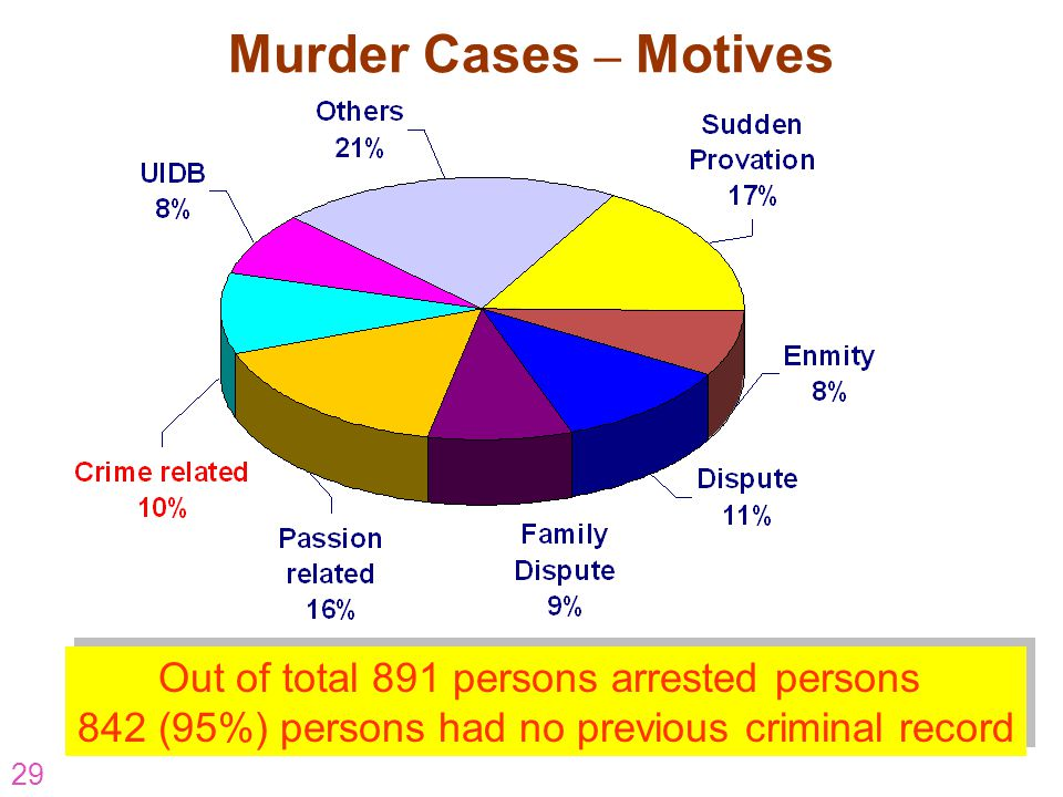 29 Murder Cases – Motives Out of total 891 persons arrested persons 842 (95%) persons had no previous criminal record Out of total 891 persons arreste