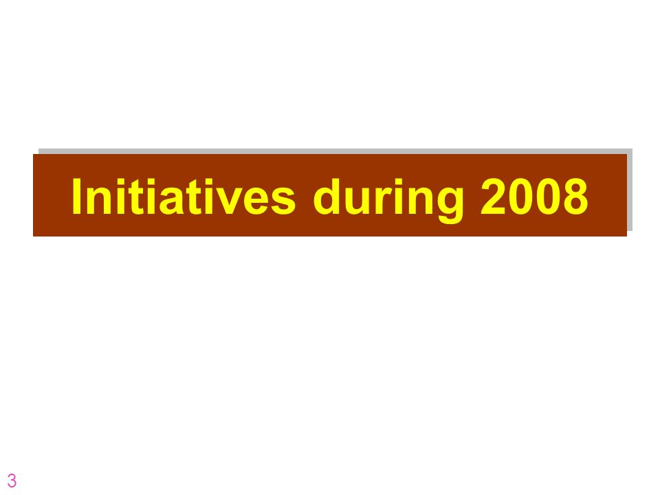 3 Initiatives during 2008
