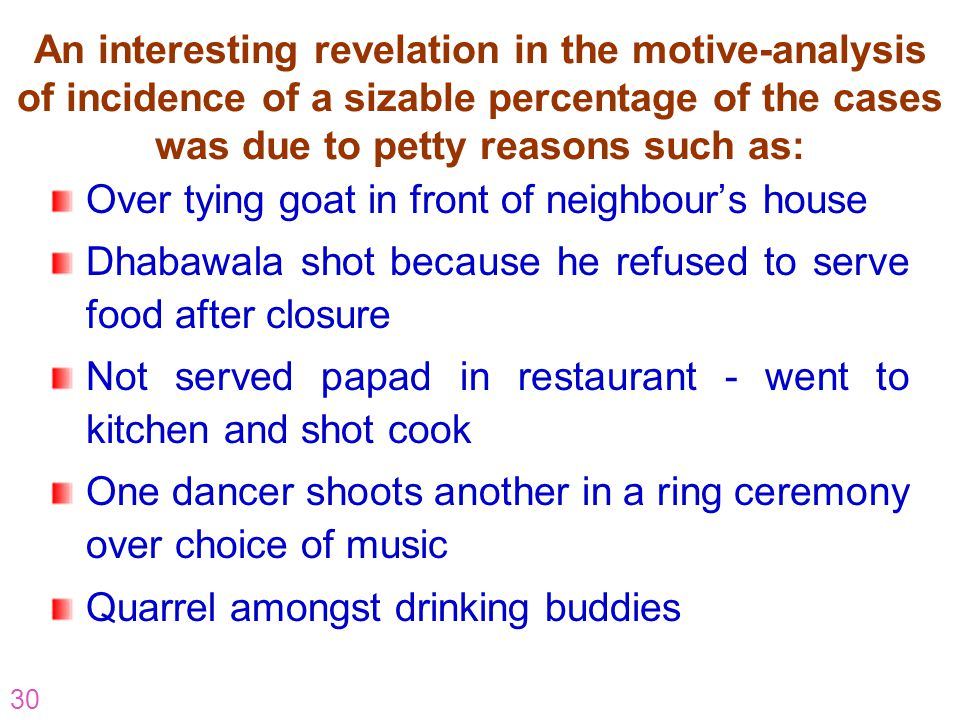 30 An interesting revelation in the motive-analysis of incidence of a sizable percentage of the cases was due to petty reasons such as: Over tying goa