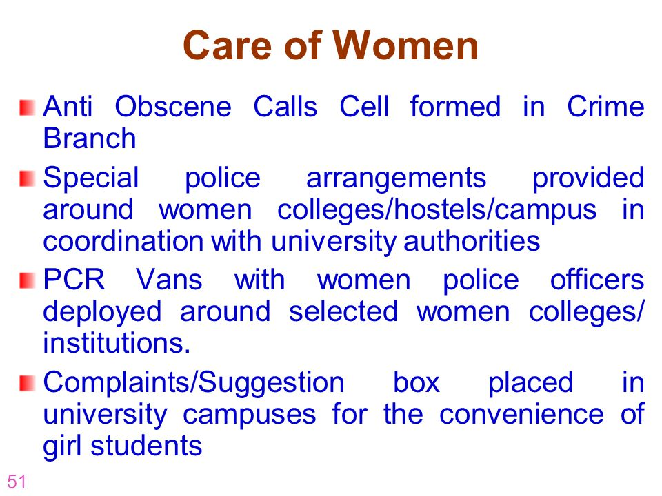 51 Anti Obscene Calls Cell formed in Crime Branch Special police arrangements provided around women colleges/hostels/campus in coordination with unive