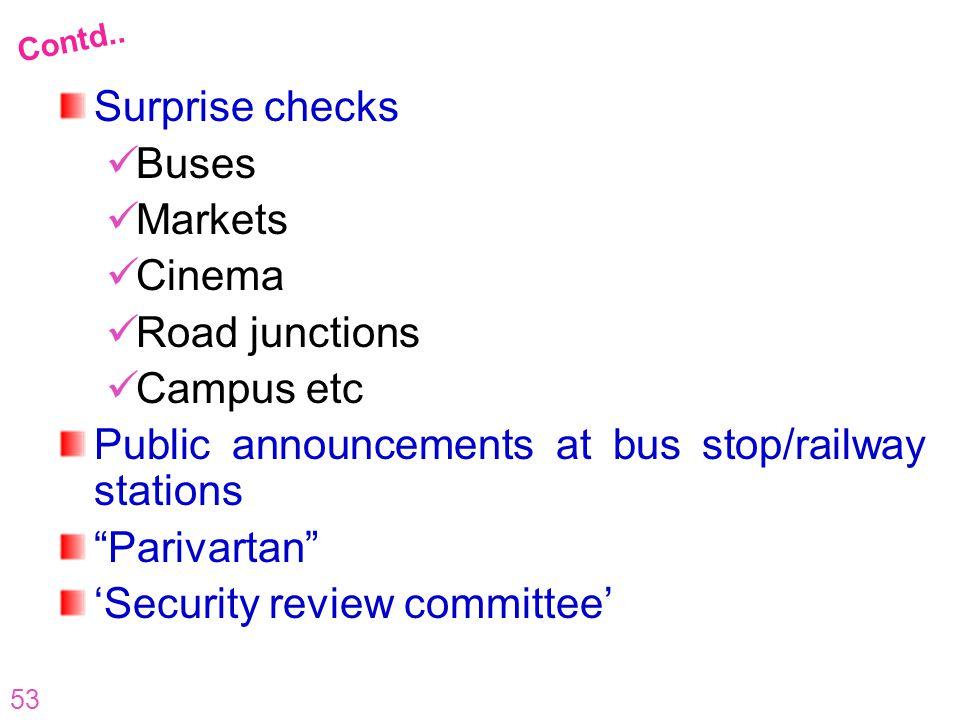 53 Surprise checks Buses Markets Cinema Road junctions Campus etc Public announcements at bus stop/railway stations Parivartan Security review committ