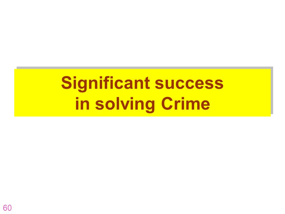 60 Significant success in solving Crime