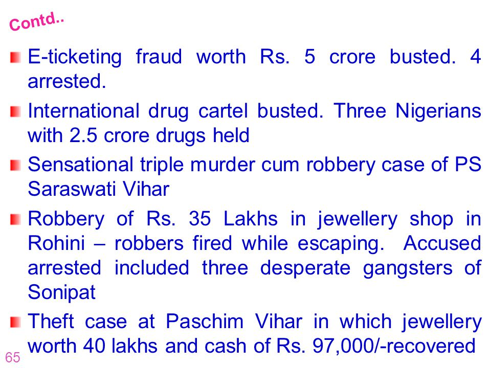 65 E-ticketing fraud worth Rs. 5 crore busted. 4 arrested. International drug cartel busted. Three Nigerians with 2.5 crore drugs held Sensational tri