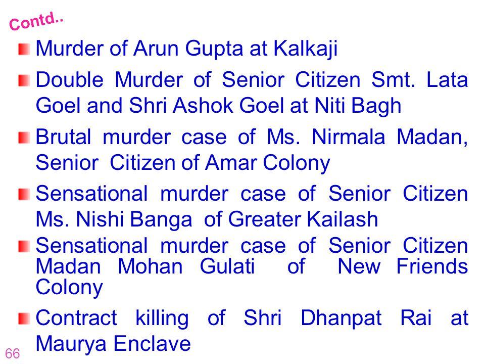 66 Murder of Arun Gupta at Kalkaji Double Murder of Senior Citizen Smt. Lata Goel and Shri Ashok Goel at Niti Bagh Brutal murder case of Ms. Nirmala M