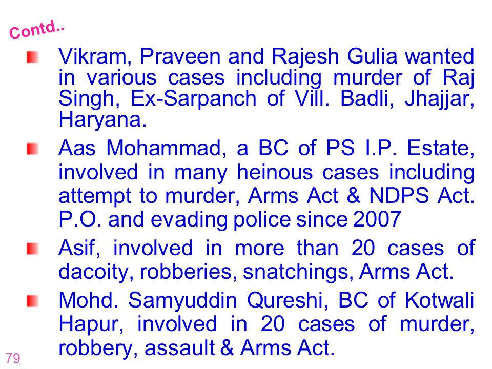 79 Vikram, Praveen and Rajesh Gulia wanted in various cases including murder of Raj Singh, Ex-Sarpanch of Vill. Badli, Jhajjar, Haryana. Aas Mohammad,