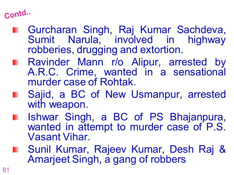81 Gurcharan Singh, Raj Kumar Sachdeva, Sumit Narula, involved in highway robberies, drugging and extortion. Ravinder Mann r/o Alipur, arrested by A.R