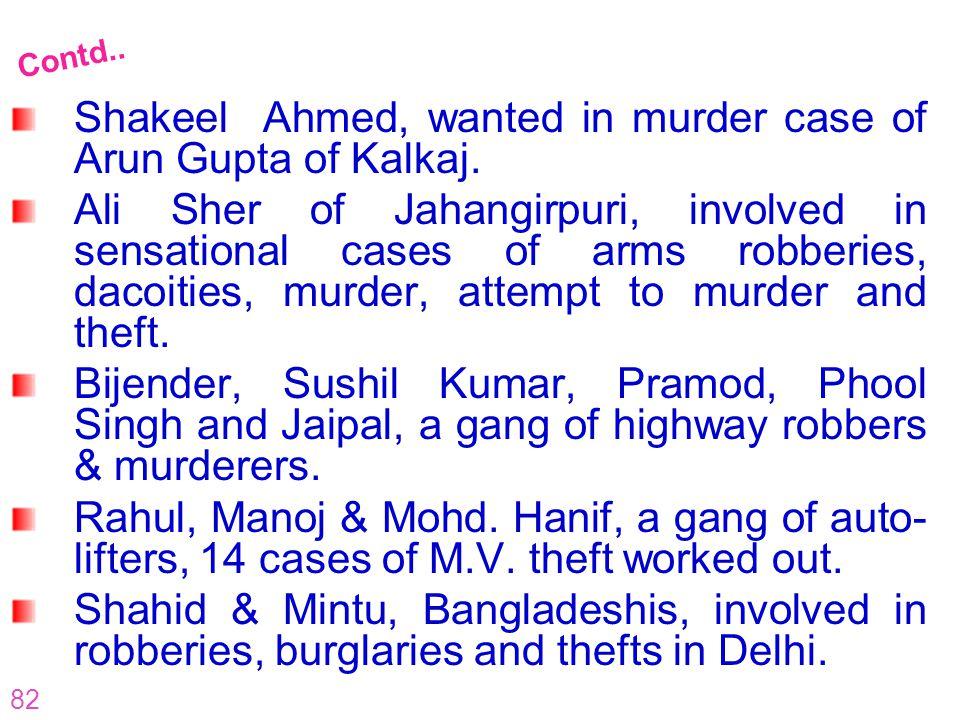 82 Shakeel Ahmed, wanted in murder case of Arun Gupta of Kalkaj. Ali Sher of Jahangirpuri, involved in sensational cases of arms robberies, dacoities,