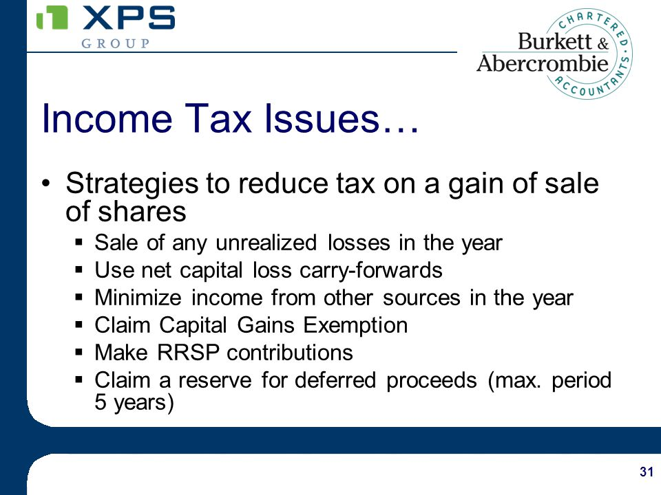 31 Strategies to reduce tax on a gain of sale of shares Sale of any unrealized losses in the year Use net capital loss carry-forwards Minimize income from other sources in the year Claim Capital Gains Exemption Make RRSP contributions Claim a reserve for deferred proceeds (max.