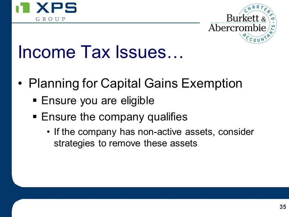 35 Planning for Capital Gains Exemption Ensure you are eligible Ensure the company qualifies If the company has non-active assets, consider strategies to remove these assets Income Tax Issues…