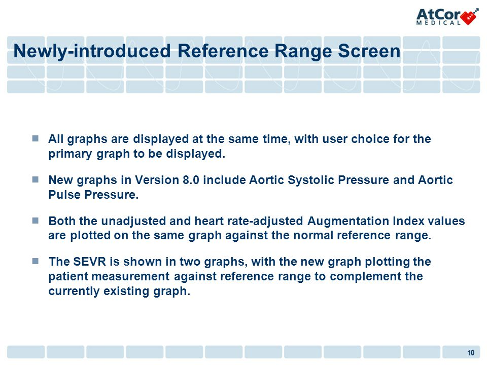 10 All graphs are displayed at the same time, with user choice for the primary graph to be displayed. New graphs in Version 8.0 include Aortic Systoli