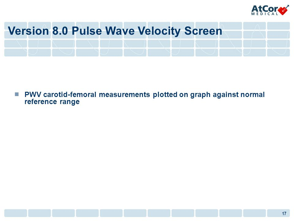 17 PWV carotid-femoral measurements plotted on graph against normal reference range Version 8.0 Pulse Wave Velocity Screen