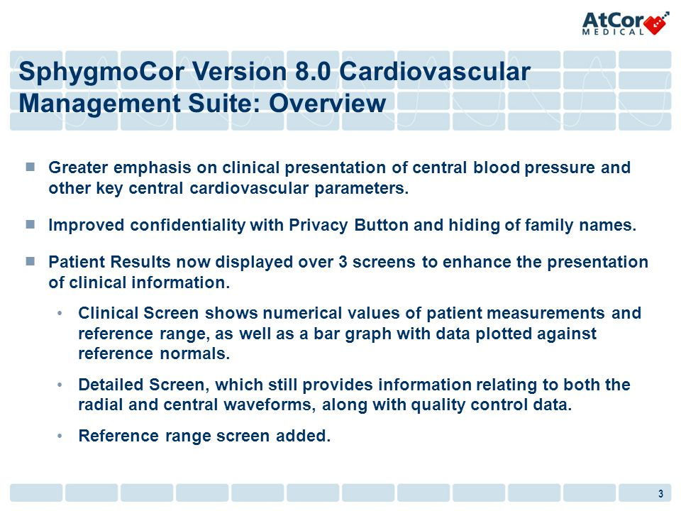 3 Greater emphasis on clinical presentation of central blood pressure and other key central cardiovascular parameters. Improved confidentiality with P