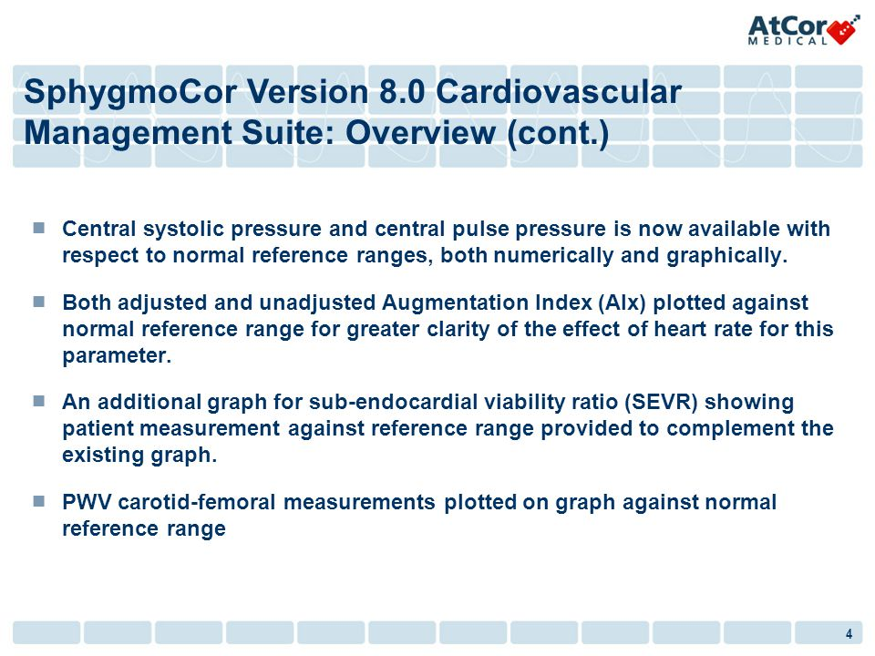 4 Central systolic pressure and central pulse pressure is now available with respect to normal reference ranges, both numerically and graphically. Bot