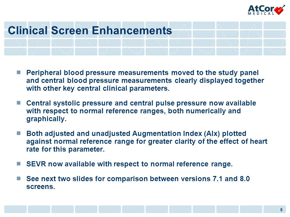 6 Peripheral blood pressure measurements moved to the study panel and central blood pressure measurements clearly displayed together with other key central clinical parameters.
