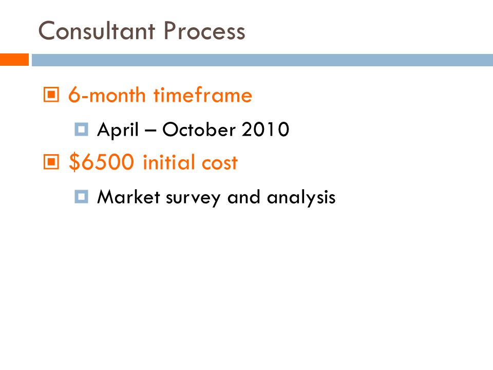 Consultant Process 6-month timeframe April – October 2010 $6500 initial cost Market survey and analysis
