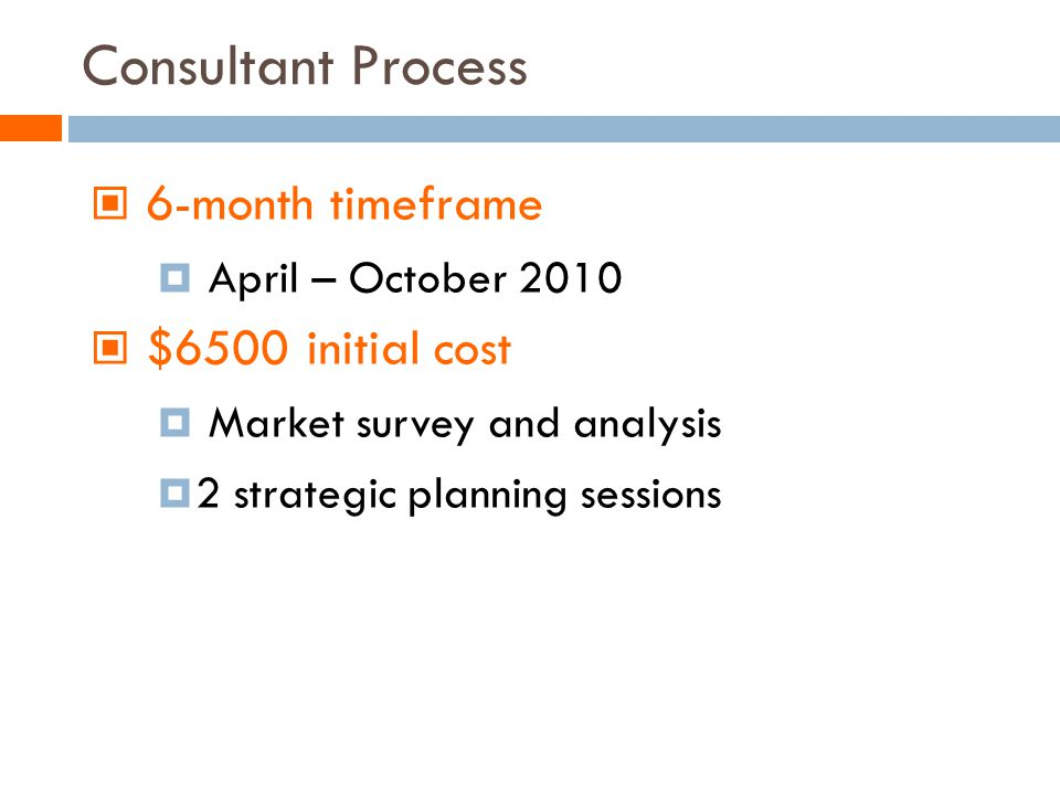 Consultant Process 6-month timeframe April – October 2010 $6500 initial cost Market survey and analysis 2 strategic planning sessions