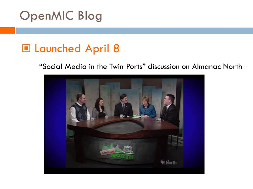 OpenMIC Blog Launched April 8 Social Media in the Twin Ports discussion on Almanac North