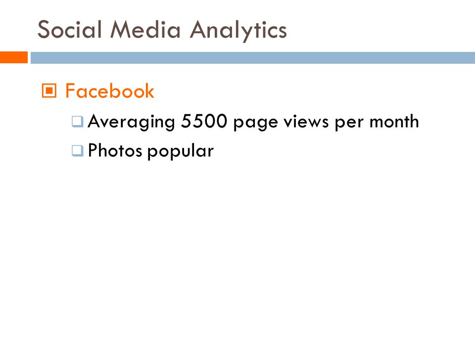 Social Media Analytics Facebook Averaging 5500 page views per month Photos popular