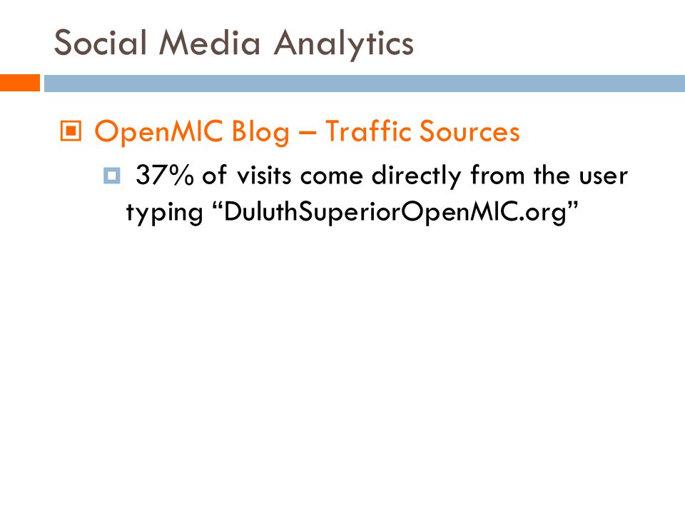 Social Media Analytics OpenMIC Blog – Traffic Sources 37% of visits come directly from the user typing DuluthSuperiorOpenMIC.org