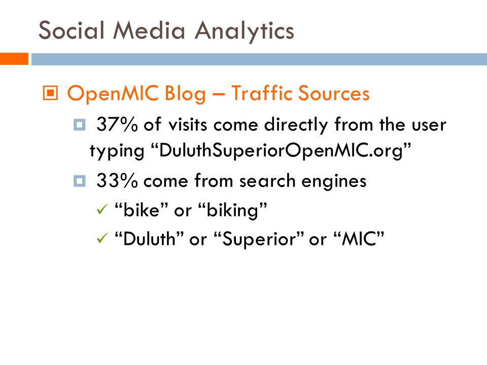 Social Media Analytics OpenMIC Blog – Traffic Sources 37% of visits come directly from the user typing DuluthSuperiorOpenMIC.org 33% come from search engines bike or biking Duluth or Superior or MIC
